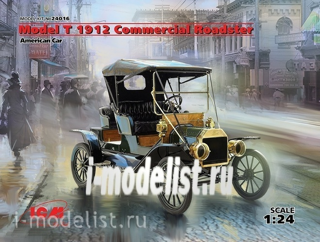 24016 ICM 1/24 Model T 1912 Commercial Roadster, American Car