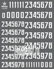 V35016 Победа 1/35 Сухая декаль Цифры для бронетехники. Вариант 1. Высота: 8,64/10,08 мм. СССР, Россия, другие страны.