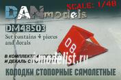 DM48503 DANmodel 1/48 ФТД колодки стопорные самолетные 4 шт + декаль с номерами