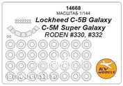14668 KV models 1/144 Lockheed C-5B Galaxy / C-5M Super Galaxy (RODEN #330, #332) + маски на диски и колеса