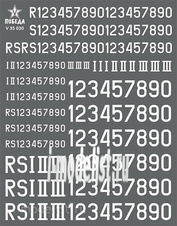 V35030 Победа 1/35 Сухая декаль Номера бронетехники Германии. ВОВ. Вариант 1. Высота: 3,60/5,40/8,64 мм.
