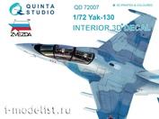 QD72007 Quinta Studio 1/72 3D interior Decal of the Yak-130 cabin (for the Zvezda model)