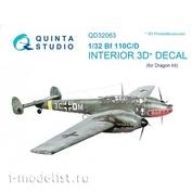 QD32063 Quinta Studio 1/32 3D Cabin Interior Decal Bf 110C/D (for Dragon model)