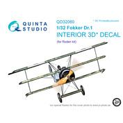 QD32060 Quinta Studio 1/32 3D Cabin Interior Decal Fokker Dr.1 (for Roden model)