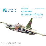 QD32006 Quinta Studio 1/32 3D interior Decal of the su-25UB cabin (for the Trumpeter model)