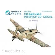 QD32043 Quinta Studio 1/32 3D Декаль интерьера кабины Spitfire Mk. II (для модели Revell)