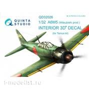 QD32026 Quinta Studio 1/32 3D Декаль интерьера кабины A6M5 (Mitsubishi prod.) (для модели Tamiya)