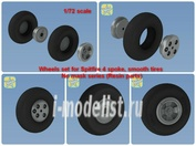NS72094-a North Star 1/72 Wheels set for Spitfire 4 spoke, smooth tires wheels set No mask series (Resin parts)