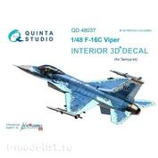 QD48037 Quinta Studio 1/48 Decal 3D interior cockpit of F-16C (for the Tamiya model)