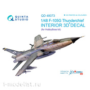 QD48073 Quinta Studio 3D Decal 1/48 of the interior cabin of the F-105G (for HobbyBoss)