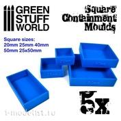 2141 Green Stuff World Квадратные формы для создания оснований, 5 шт. / 5x Containment Moulds for Bases - Square