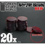 9292 Green Stuff World Акриловое основание, круглое, 25 мм - прозрачно-красное / Acrylic Bases - Round 25 mm CLEAR RED