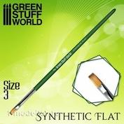 2457 Green Stuff World Кисть плоская Синтетическая Размер 3 / GREEN SERIES Flat Synthetic Brush Size 3
