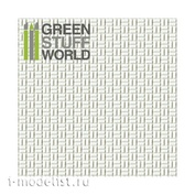 1320 Green Stuff World Пластиковый лист с текстурой смещенного прямоугольника маленький А4 0,75 мм / ABS Plasticard - OFFSET RECTANGLE Small