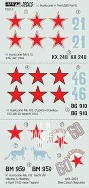 AMLD 72 010 AML 1/72 Декаль и набор дополнений H.Hurricane in USSR Part II