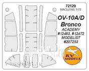 72129 KV Models 1/72 Set of painting masks for glazing ov-10 Bronco