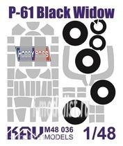 M48 036 KAV models 1/48 Окрасочная маска для всех модификаций P-61 Black Widow производства Hobby Boss. Маска для окраски остекления кабины и шасси.