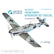 QD48105 Quinta Studio 1/48 3D Cabin Interior Decal Bf 109C/D (for Modelsvit model)
