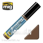 AMIG1250 Ammo Mig STREAKINGBRUSHER MEDIUM BROWN (Краска с тонкой кистью аппликатором)