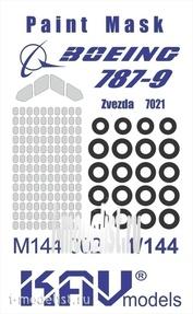 M144 002 KAV models 1/144 Paint mask on Boeing 787 Dreamliner (Zvezda)