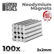 9264 Green Stuff World Неодимовые магниты 3 x 2 мм (100 шт.) (N52) / Neodymium Magnets 3x2mm - 100 units (N52)