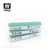 T04002 Vallejo Набор шлифовальных губок Vallejo / 3 шт. (90х19х12 мм, разной зернистости)