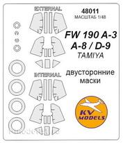 48011 KV Models 1/48 Маска для Fw-190 A-3 / A-8 / D-9 (двухсторонняя маска)