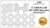 14494 KV Models 1/144 Набор окрасочных масок для C-130 A/H/J-30/AC-130H Hercules + маски на диски и колеса