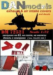 DM72521 DANmodel 1/72 МuГ-29 заглушки на ВЗ, на сопла, на жалюзи + декаль с номерами ( ITALERY, IСМ )