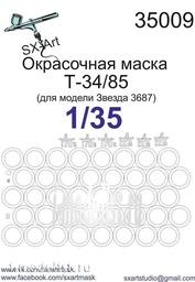 SX35009 SX-Art 1/35 Painting mask T34/85 (for model Zvezda 3687)