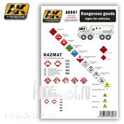 AK807 AK Interactive DANGEROUS GOODS SIGNS FOR VEHICLES (набор декалей с множеством предупреждающих знаков)