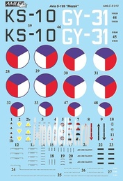 AMLC 8 010 AML 1/48 Декаль для Avia S-199,  Part I      2 decal versions : KS-10, GY-31