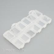 У144-03 MiniWarPaint Бокс для хранения прямоугольный 12 ячеек, 130х65 мм (Прозрачный)