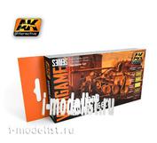AK1552 AK Interactive Набор акриловых красок GERMAN DUNKELGELB SET (немецкий тёмно-желтый) (6 красок)