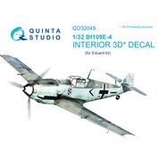 QD32049 Quinta Studio 1/32 3D Декаль интерьера кабины Bf 109E-4 (для модели Eduard)