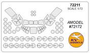 72211 KV Models 1/72 Набор окрасочных масок для остекления модели вертолёта