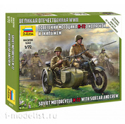 6277 Zvezda 1/72 Soviet motorcycle with sidecar and crew M-72