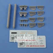 NS72054 North Star 1/72 AM-39 Exocet  missile (2 pc. In the set, decal)