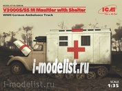 35414 ICM 1/35 Германский санитарный автомобиль ІІ МВ V3000 M Maultier с санитарной будкой