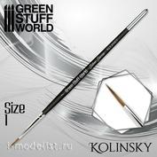 2354 Green Stuff World Кисть SILVER SERIES Kolinsky - размер 1 / SILVER SERIES Kolinsky Brush - Size 1