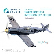 QD48086 Quinta Studio 1/48 3D Cabin Interior Decal Bf 109E-1/E-3 (for Eduard model)