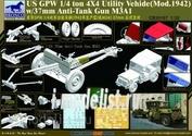 CB35107 Bronco 1/35 US GPW 4x4 Light Utility Truck with 37mm Anti-Tank Gun M3A1