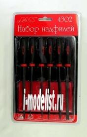 4302 JAS Набор надфилей с ручками,  6 шт., блистер + чехол