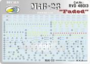 RVD48013 R.V. AIRCRAFT 1/48 Декали для MiG-23 stencils