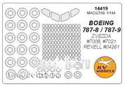 14419 KV Models 1/144 Набор окрасочных масок для остекления модели Boing-787