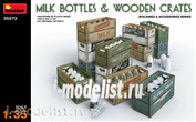 35573 MiniArt 1/35 milk Bottles and wooden boxes