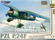 481007 Mirage Hobby 1/48 Greek Fighter PZL P.24F with 20 mm Oerlikon