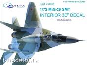 QD72003 Quinta Studio 1/72 3D Decal of the interior of the cockpit MiG-29 SMT (for model Zvezda 7309)