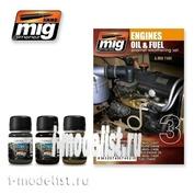 AMIG7402 Set Ammo Mig for weathering ENGINES SET (Contamination of the engine and mechanisms)
