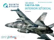 QD48042 Quinta Studio 1/48 3D Декаль интерьера кабины F/A-18A (для модели Kinetic)
